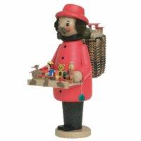 Kuhnert Räuchermann Spielzeughändler rot