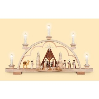 Müller candle arch Christi nativity with crib