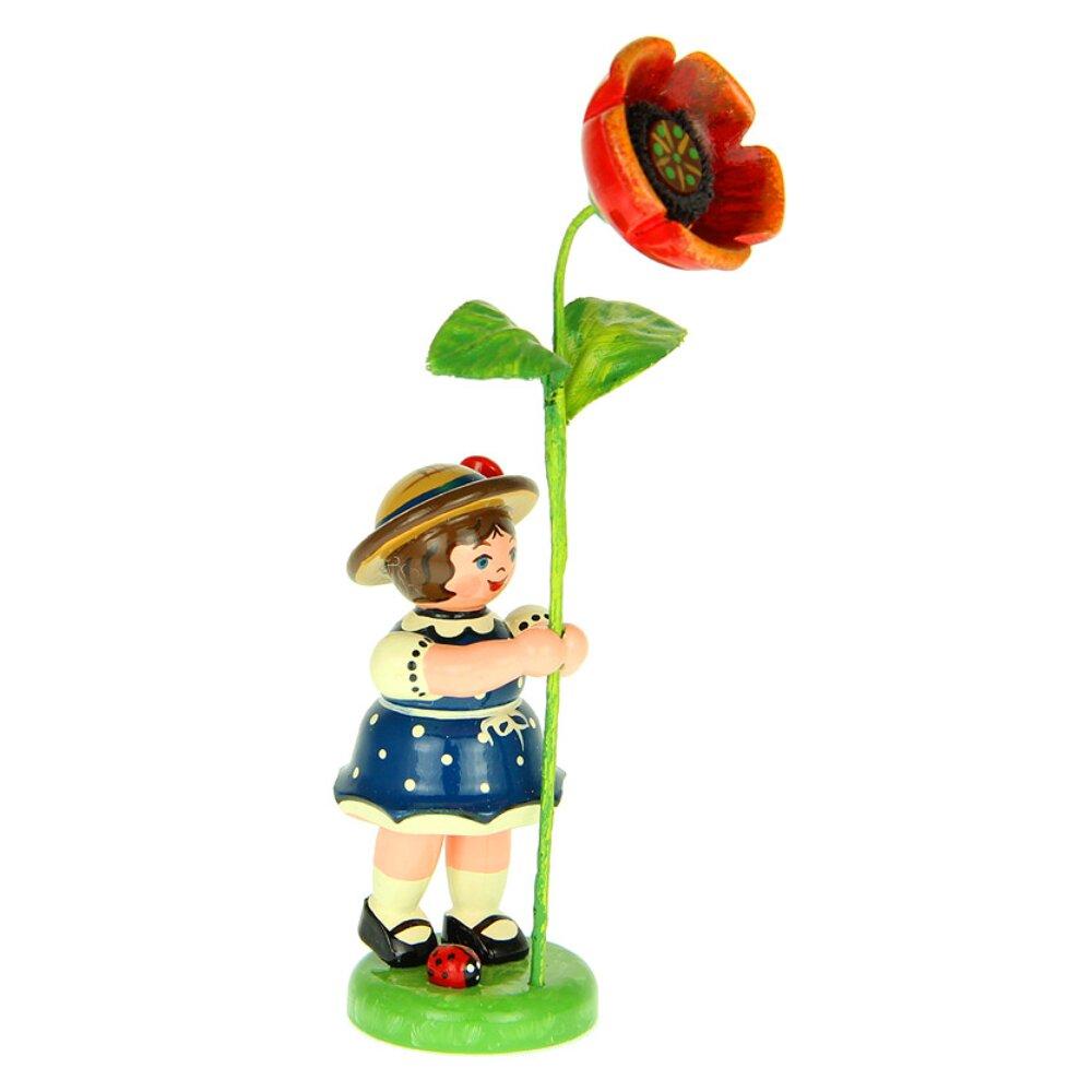 Hubrig Blumenm/ädchen 11cm Blumenkind mit Mohnblume Erzgebirge
