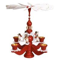 Zeidler Leuchterpyramide groß rot 5 weiß Engel